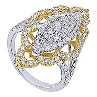 18k Yellow And White Gold Mediterranean Statement Ladies' Ring angle 3