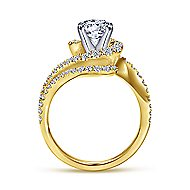 18k Yellow And White Gold Round Bypass Engagement Ring angle 2
