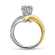 18k Yellow And White Gold Round Split Shank Engagement Ring angle 2