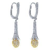 18k Yellow And White Gold Silk Drop Earrings angle 2
