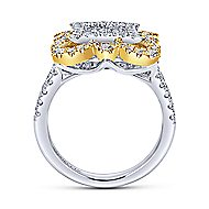 18k Yellow And White Gold Victorian Fashion Ladies Ring