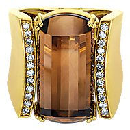 18k Yellow Gold Contemporary Wide Band Ladies' Ring angle 1