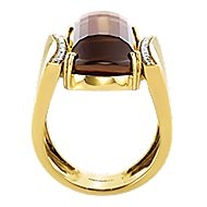 18k Yellow Gold Contemporary Wide Band Ladies' Ring angle 2