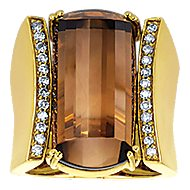 18k Yellow Gold Contemporary Wide Band Ladies' Ring angle 4