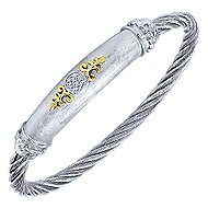 3 Or More Metals Mixed Steel My Heart Twisted Cable Bangle angle 2