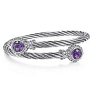 925 Silver & Stainless Steel Amethyst Bangle