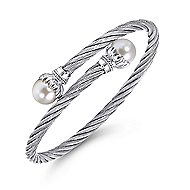 925 Silver & Stainless Steel Cultered Pearl Bangle