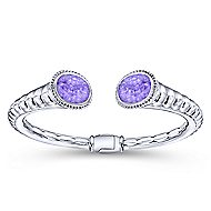 925 Silver & Stainless Steel Rock Crystal & Purple Jade Bangle