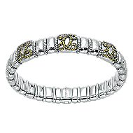 925 Silver & Stainless Steel Yellow Sapphire Bangle