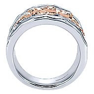 925 Silver And 18k Rose Gold Souviens Wide Band Ladies' Ring angle 2