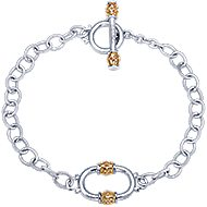 925 Silver And 18k Yellow Gold Roman Chain Bracelet angle 1