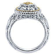 925 Silver And 18k Yellow Gold Roman Fashion Ladies' Ring angle 2