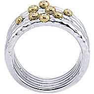 925 Silver And 18k Yellow Gold Souviens Wide Band Ladies Ring