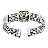 925 Silver And 18k Yellow Gold Steel My Heart Bangle angle 1