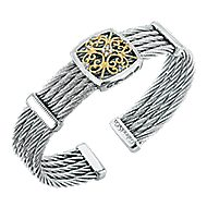 925 Silver And 18k Yellow Gold Steel My Heart Bangle angle 2