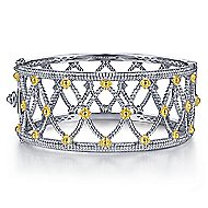 925 Silver And 18k Yellow Gold Victorian Bangle