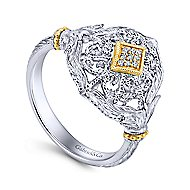 925 Silver And 18k Yellow Gold Victorian Fashion Ladies Ring