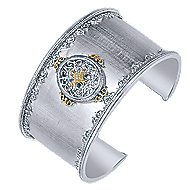 925 Silver And 18k Yellow Gold Victorian Wide Cuff Bangle