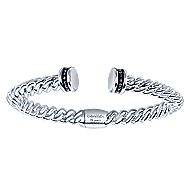 925 Silver And Stainless Steel Hampton Hinged Cuff Bangle
