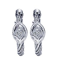 925 Silver And Stainless Steel Huggies Huggie Earrings angle 1
