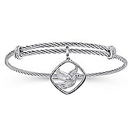 925 Silver And Stainless Steel Steel My Heart Charm Bangle angle 1
