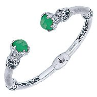 925 Silver And Stainless Steel Victorian Hinged Cuff Bangle