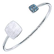 925 Silver Blue Topaz Engravable Bangle angle 2