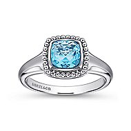 925 Silver Blue Topaz Ring