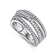 925 Silver Bujukan Wide Band Ladies Ring