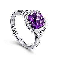 925 Silver Cushion Cut Fashion Amethyst Ladies Ring