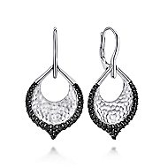 925 Silver Drop Black Spinel Earrings