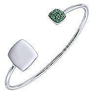 925 Silver Emerald Engravable Bangle angle 2