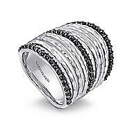 925 Silver Fashion Black Spinel Long Ladies Ring