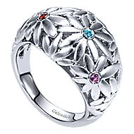 925 Silver Floral Fashion Ladies' Ring angle 3