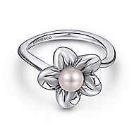 925 Silver Floral Fashion Ladies' Ring angle 1