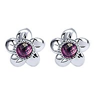 925 Silver Floral Stud Earrings angle 1
