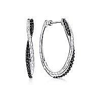 925 Silver Intricate Hoop Black Spinel Earrings