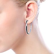 925 Silver Intricate Hoop Black Spinel Earrings