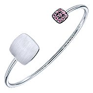 925 Silver Pink Zircon Engravable Bangle
