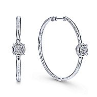 925 Silver Prong Set 40mm Round Classic Diamond Hoop Earrings