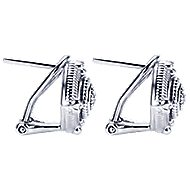 925 Silver Roman Stud Earrings angle 3