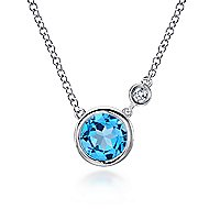 925 Silver Round Fashion Swiss Blue Topaz Necklace