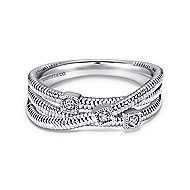 925 Silver Scalloped Wide Band Ladies' Ring angle 1