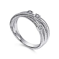925 Silver Scalloped Wide Band Ladies' Ring angle 3