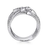 925 Silver Scalloped Wide Band Ladies' Ring angle 2