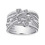 925 Silver Scalloped Wide Band Ladies' Ring angle 4