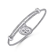 925 Silver/Stainless Steel Charm Infinity Bangle