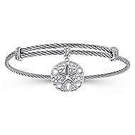 925 Silver/Stainless Steel Charm Star Bangle