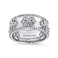925 Silver Victorian Wide Band Ladies Ring