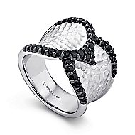 925 Silver Wide Band Black Spinel Ladies Ring